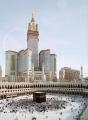 nice view of makka clock with Kabba
