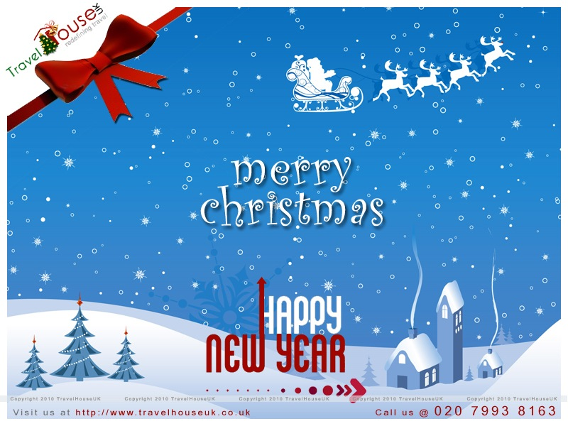 christmas and new year card for travel house uk