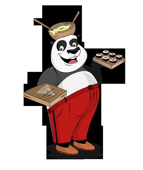 Panda with food